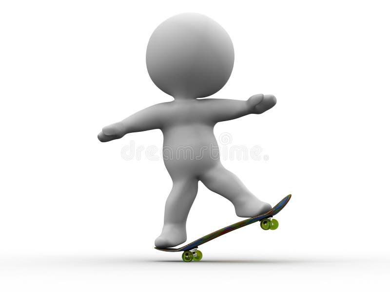 truque manual SkateBoarding do homem 3D ilustração royalty free