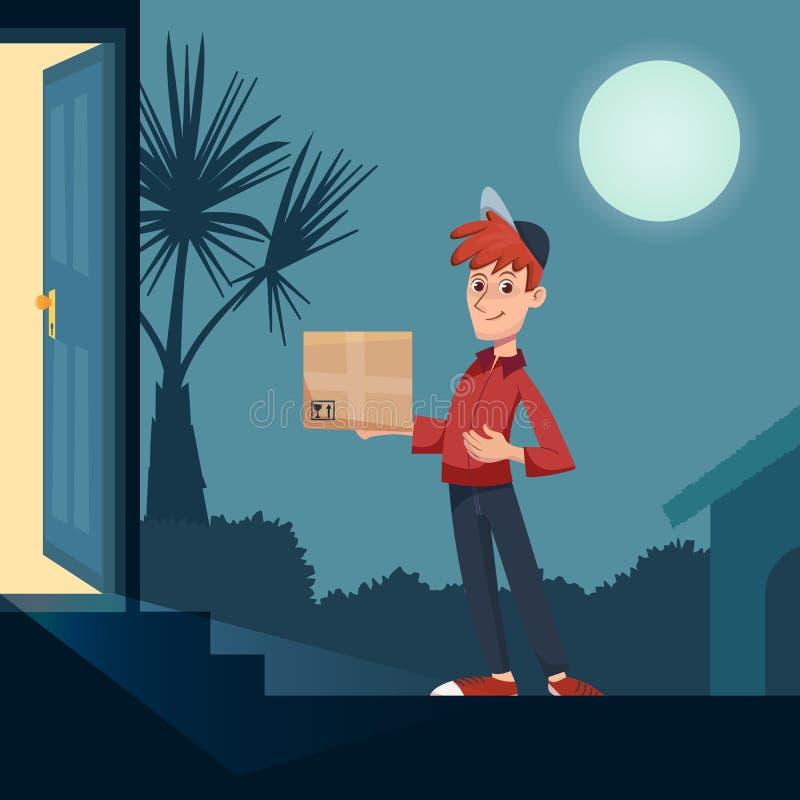 Indivíduo da entrega que entrega uma caixa na entrada tardio Transporte rápido à porta de sua casa Conceito do serviço de entrega ilustração royalty free