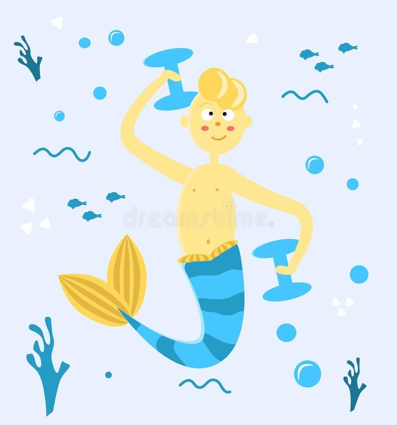Indivíduo da sereia dos desenhos animados que joga esportes debaixo d'água Um homem com uma cauda, pesos, bolhas e algas ilustra? ilustração do vetor