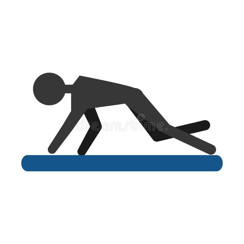 Indivíduo da silhueta que exercita a almofada do esporte da aptidão ilustração stock