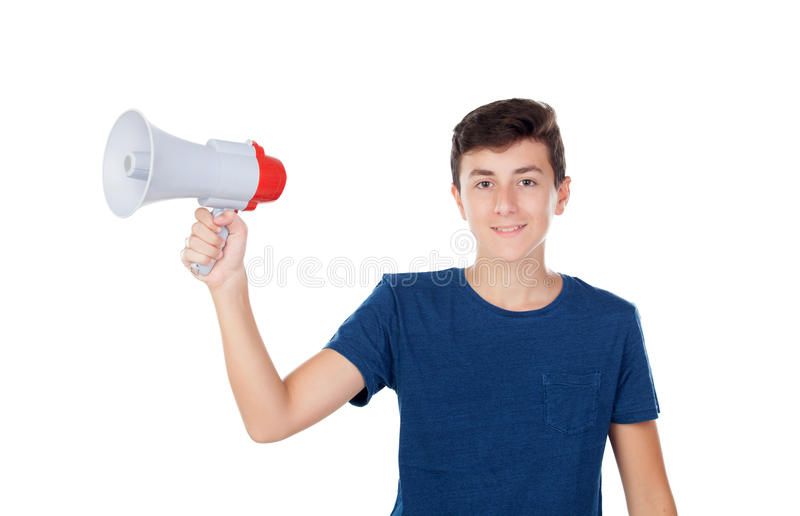 Indivíduo do adolescente com um megafone fotografia de stock