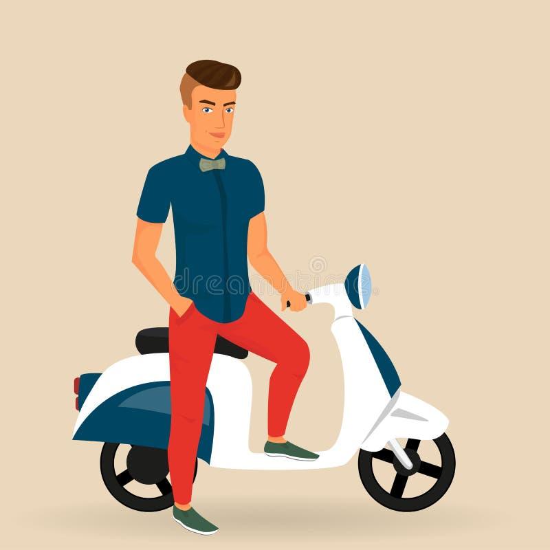 Indivíduo do moderno que veste passeios à moda seu velomotor ilustração royalty free