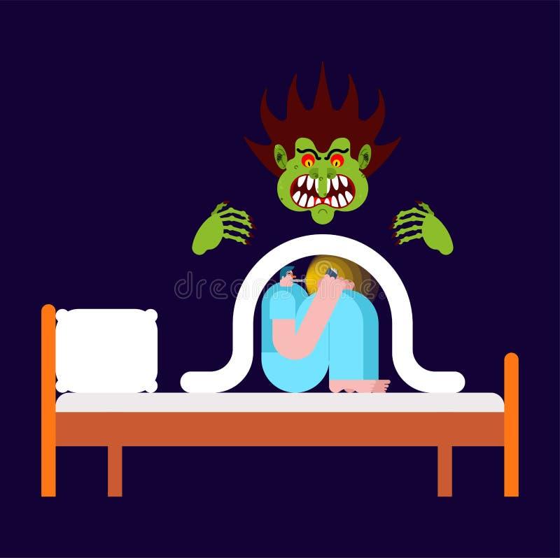 Indivíduo do pesadelo sob os medos gerais Ilustração do vetor ilustração stock