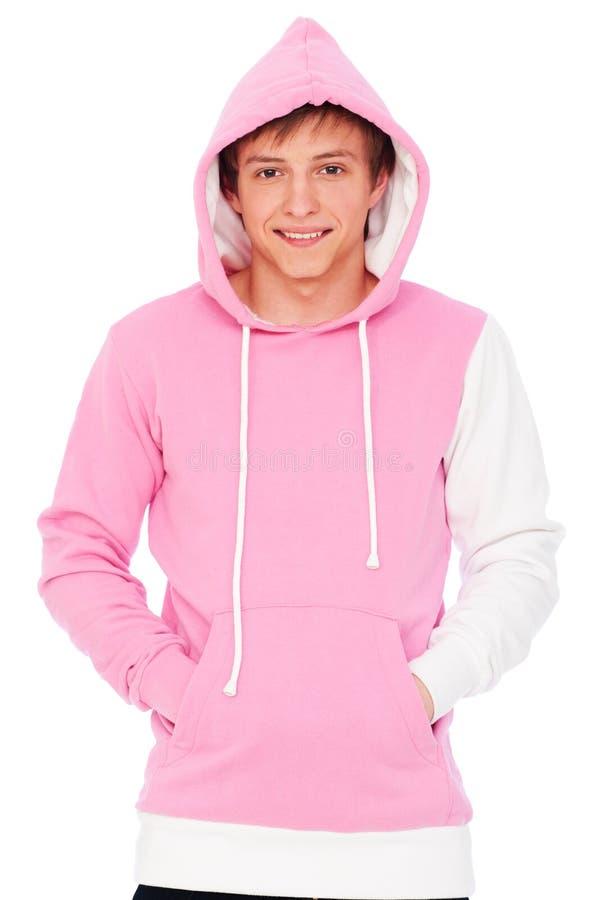 Indivíduo do smiley na camisola cor-de-rosa imagem de stock royalty free