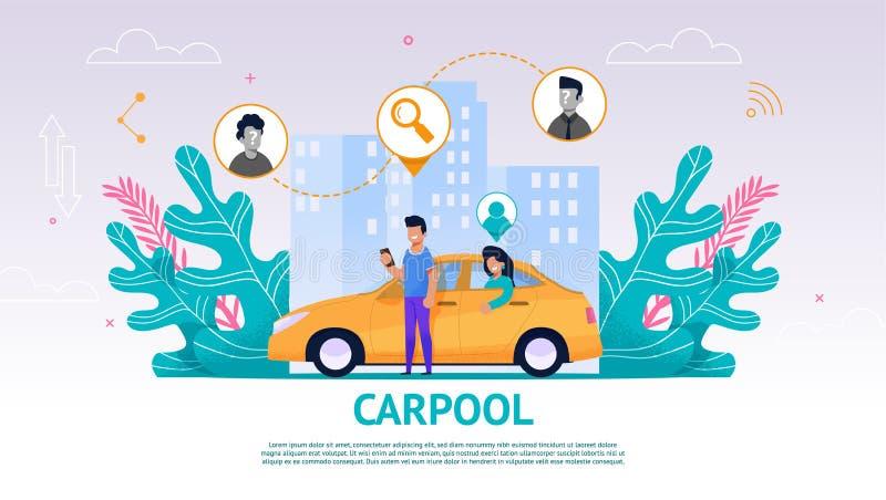 Indivíduo e menina da ilustração no carro amarelo, Carpool ilustração royalty free