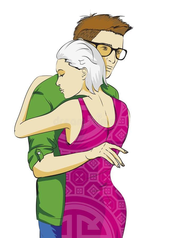 Indivíduo elegante e menina nos braços Amor e forma ilustração royalty free