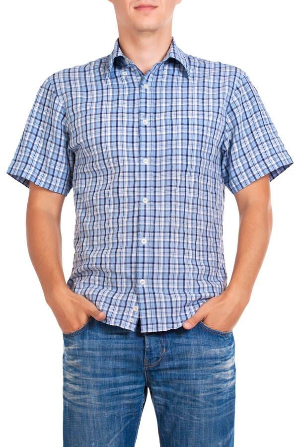 Indivíduo em uma camisa checkered, isolada no branco fotografia de stock