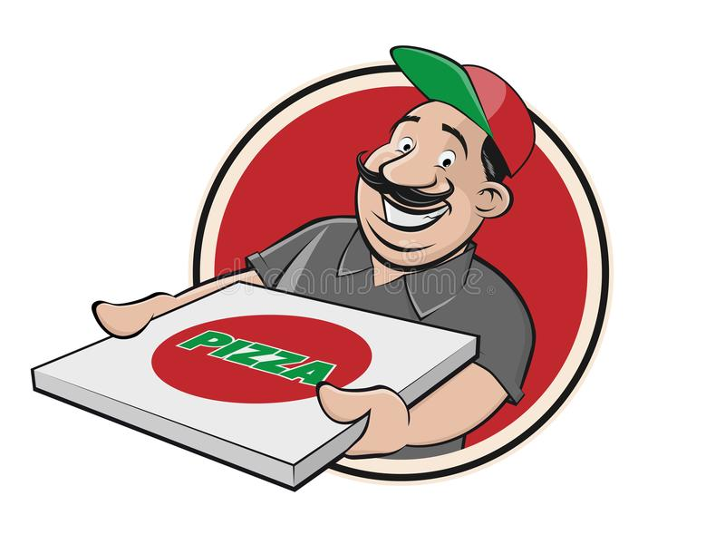 Indivíduo engraçado da entrega da pizza ilustração stock