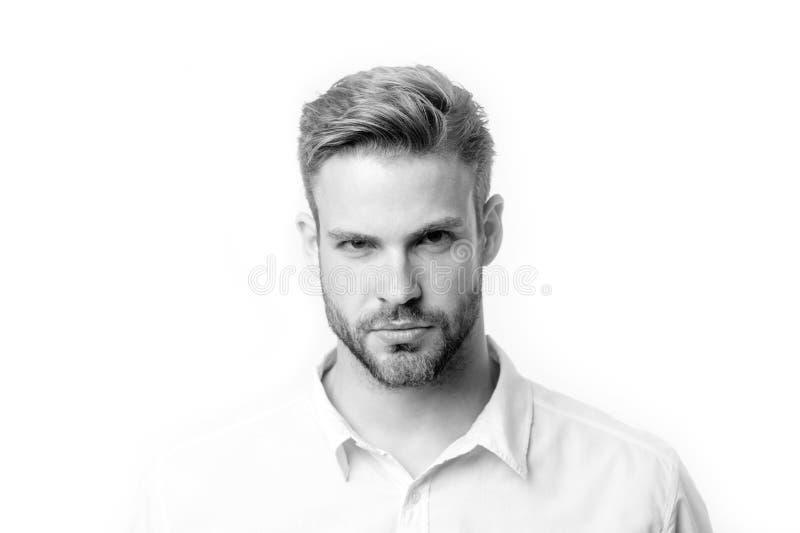 Indivíduo farpado com a barba na cara não barbeado isolada no fundo branco Homem com olhar sério Farpado e considerável cabelo imagem de stock royalty free
