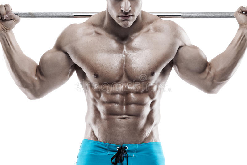 Indivíduo muscular do halterofilista que faz exercícios com pesos sobre o whi foto de stock royalty free