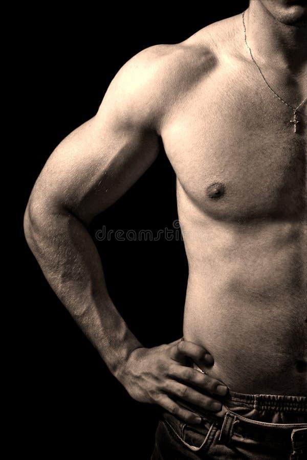 Indivíduo muscular no fundo preto fotos de stock royalty free