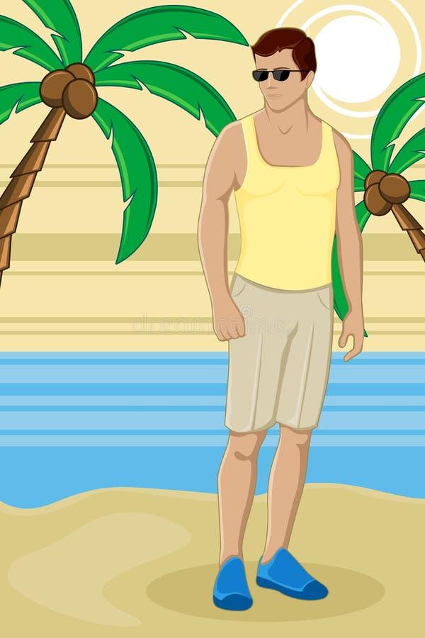 Indivíduo na praia do mar ilustração do vetor