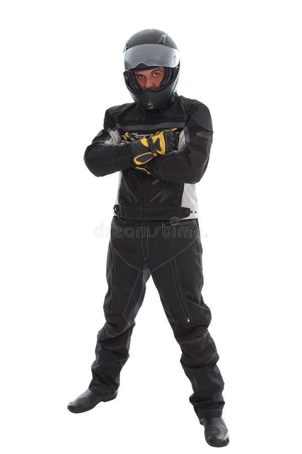 Indivíduo na roupa da motocicleta foto de stock royalty free