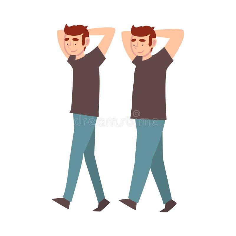 Indivíduo na roupa ocasional que anda com as mãos jogadas, homem novo antes e depois da perda de peso, corpo masculino que muda c ilustração stock