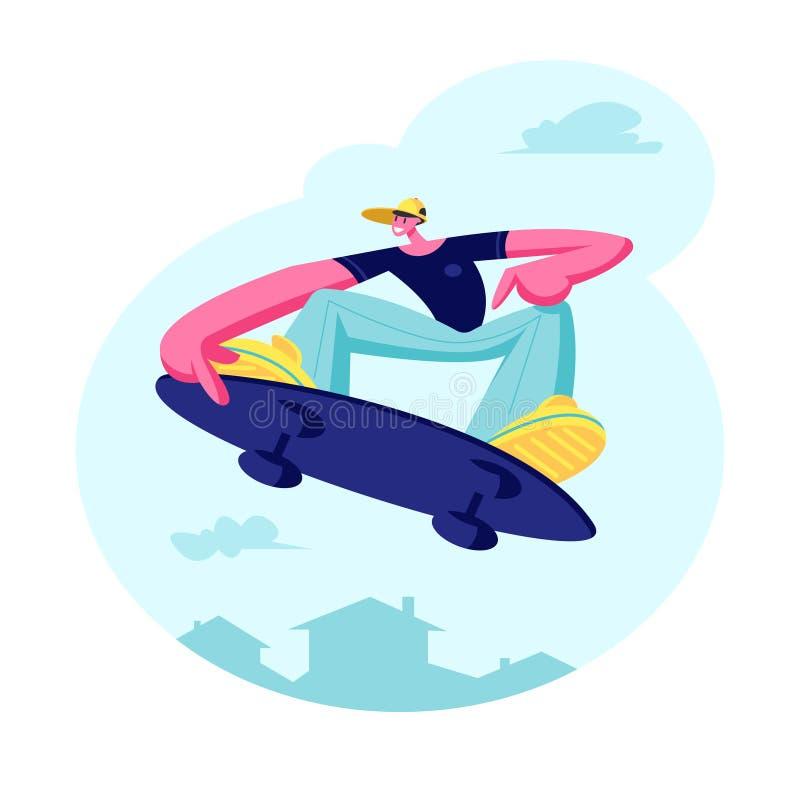 Indivíduo novo na roupa formada moderna e no tampão que saltam no skate Caráter masculino do skater, menino Skateboarding a bordo ilustração do vetor