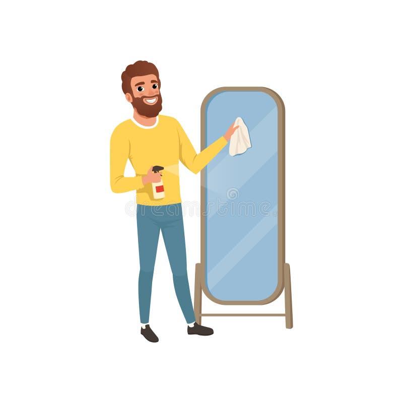 Indivíduo novo que limpa o espelho grande do banheiro com o pano e que pulveriza o detergente Equipe fazer o housework Projeto li ilustração stock
