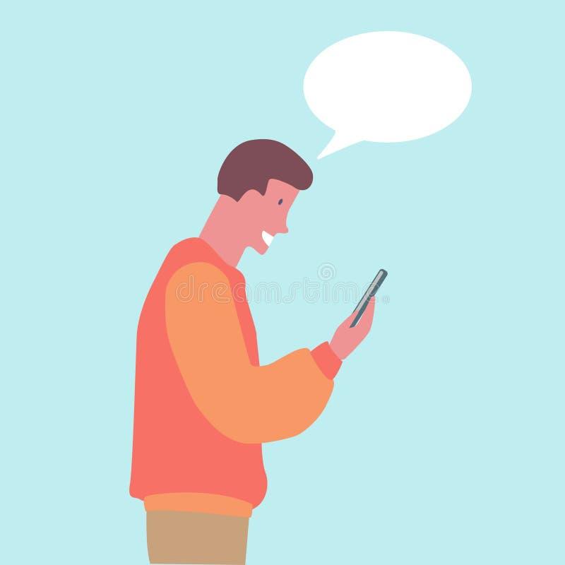 indivíduo novo que olha seu projeto liso do telefone ilustração royalty free