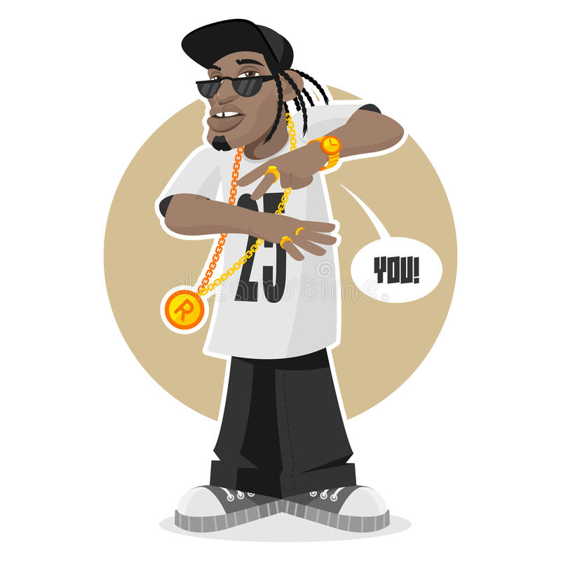 Indivíduo preto - rapper ilustração do vetor
