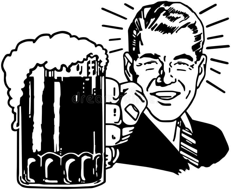 Indivíduo retro da cerveja ilustração do vetor