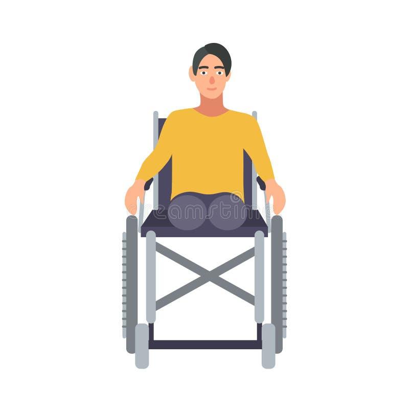 Indivíduo sem pés que sentam-se na cadeira de rodas isolada no fundo branco Amputado novo ou pessoa deficiente Macho de sorriso ilustração do vetor