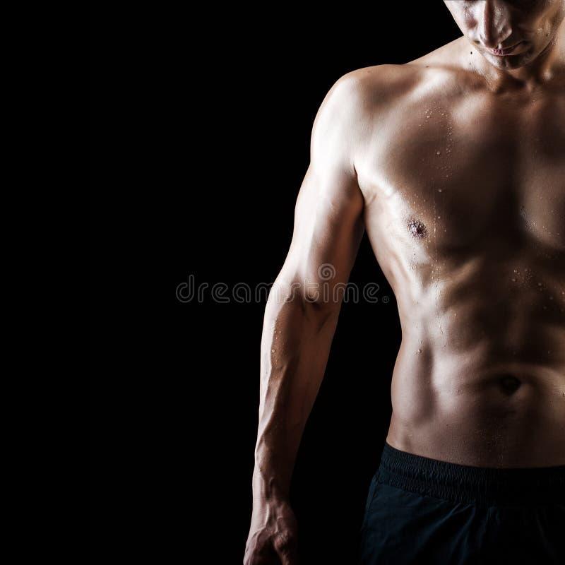 Indivíduo 'sexy' considerável muscular no fundo preto fotografia de stock royalty free