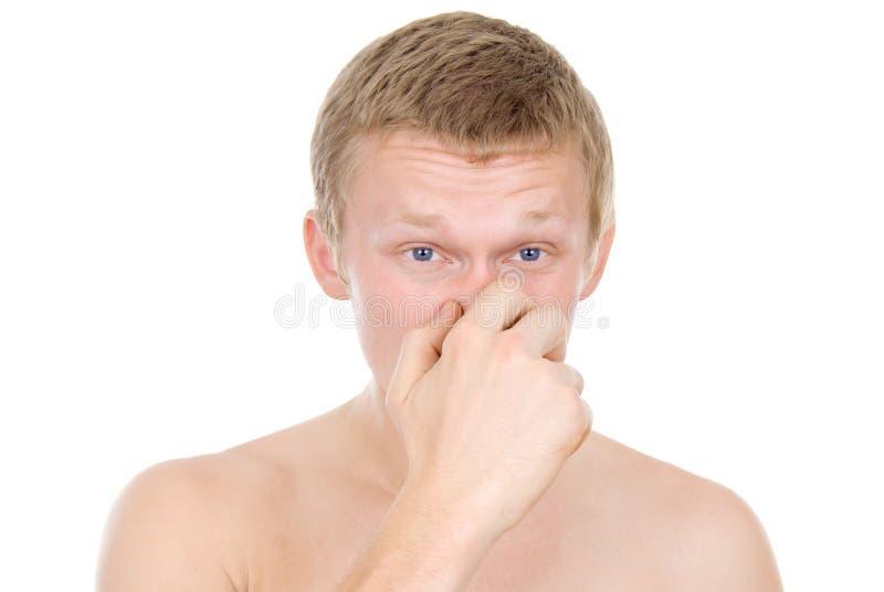 Indivíduo, um nariz runny, frio foto de stock