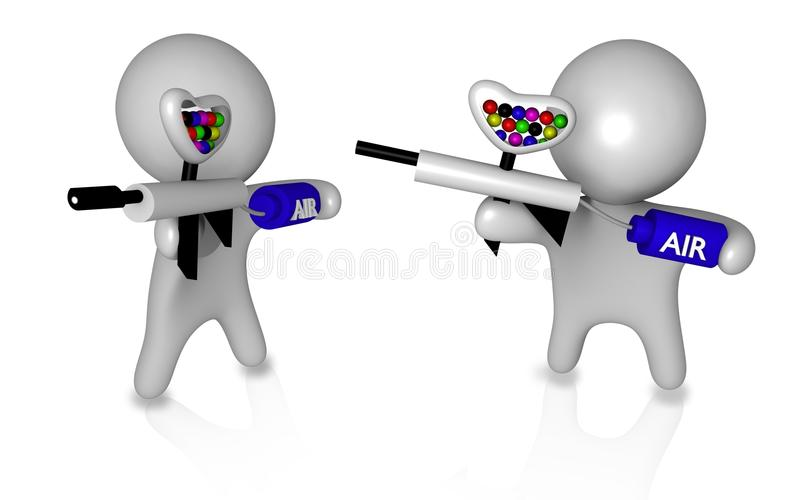 Indivíduos 3d do Paintball ilustração stock