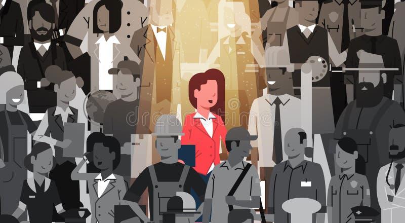 Individ för affärskvinnaledareStand Out From folkmassa, grupp för folk för kandidat för rekrytering för strålkastarehyrapersonalr royaltyfri illustrationer