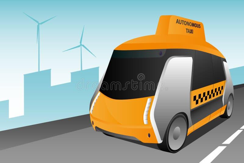 Individu autonome conduisant le taxi illustration stock