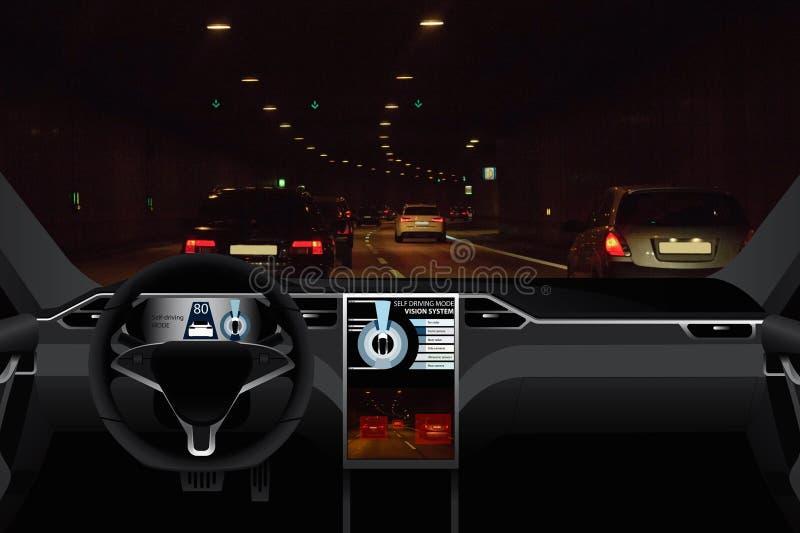 Individu conduisant la voiture sur une route photographie stock