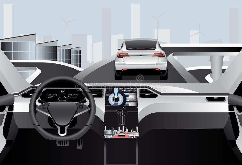 Individu conduisant la voiture sur une route Vue intérieure illustration de vecteur