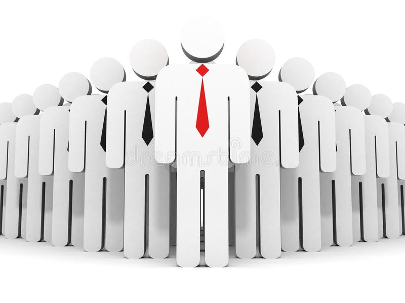 Individual business leader in team flow group