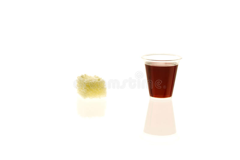 Individual Communion Cup With Bread Stock Photo