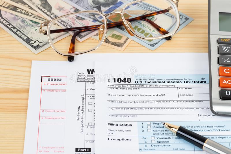 Individual income tax return form by IRS, concept for taxation stock photography