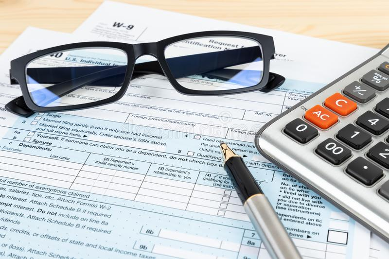 Individual income tax return form by IRS, concept for taxation stock photos
