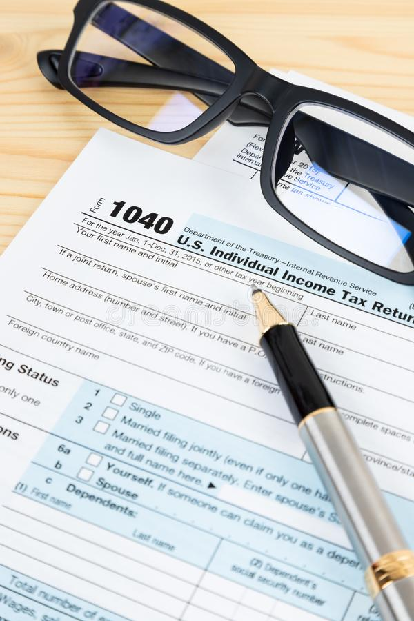 Individual income tax return form by IRS, concept for taxation royalty free stock images