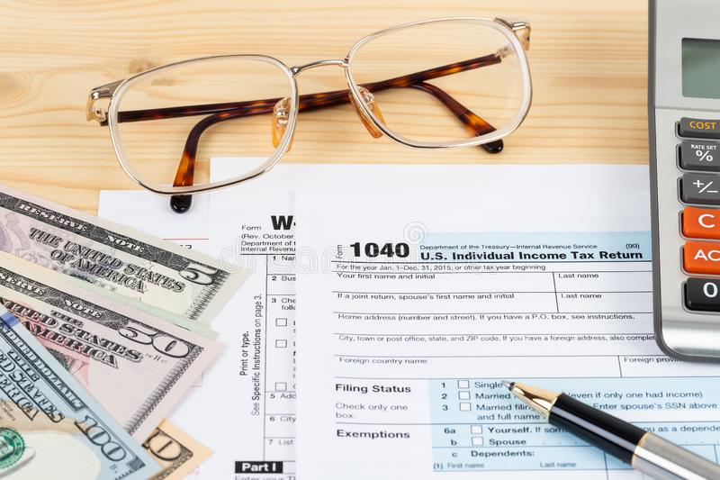 Individual income tax return form by IRS, concept for taxation stock photo