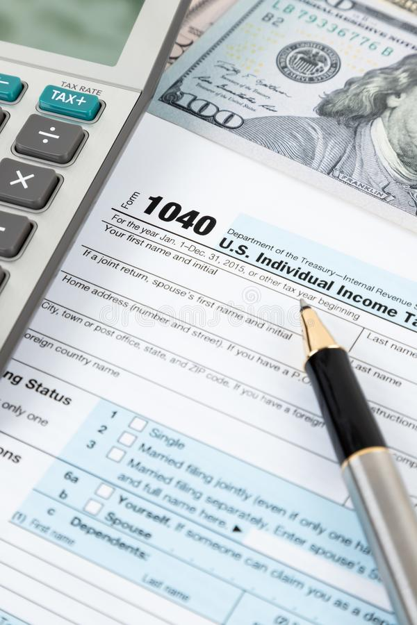 Individual income tax return form by IRS, concept for taxation royalty free stock image