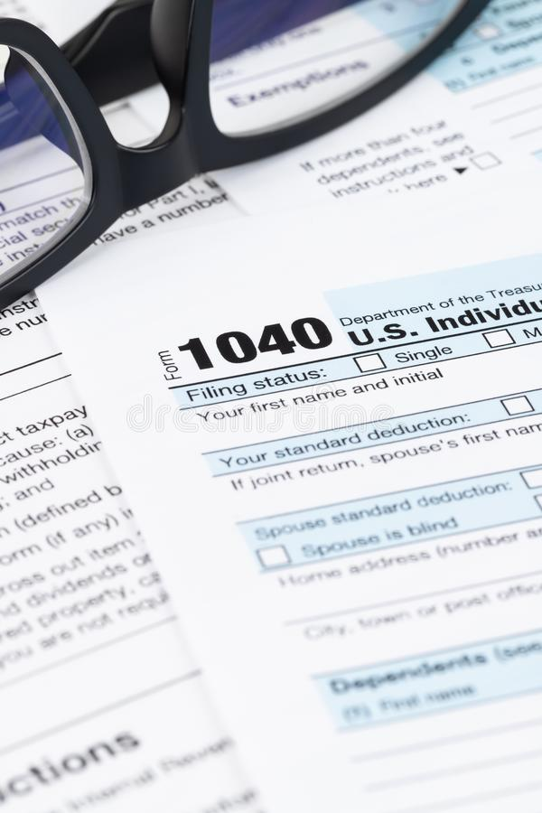 Individual income tax return form by IRS, concept for taxation royalty free stock photography