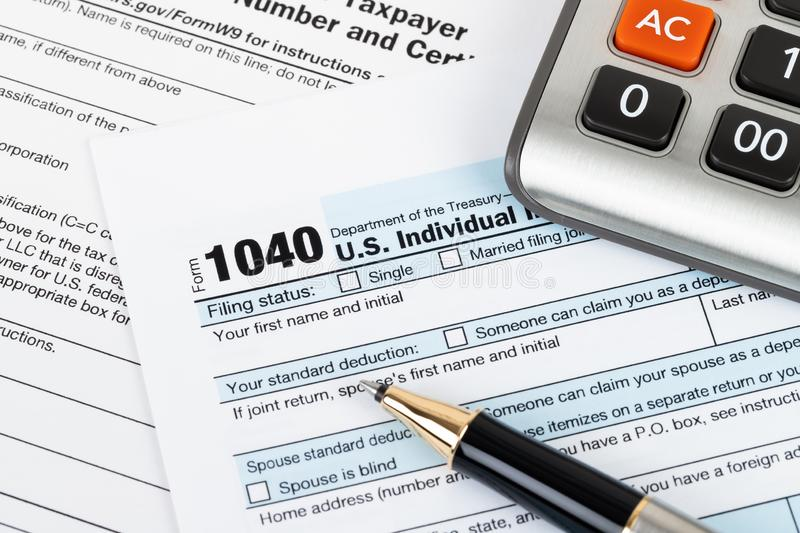 Individual income tax return form by IRS, concept for taxation royalty free stock photo
