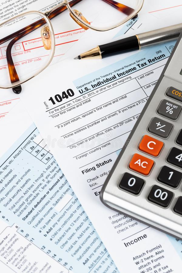 Individual income tax return form by IRS, concept for taxation.  royalty free stock photos