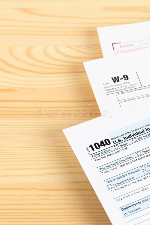 Individual income tax return form by IRS, concept for taxation, with copy space royalty free stock photo