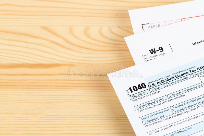 Individual income tax return form by IRS, concept for taxation, with copy space.  royalty free stock photo