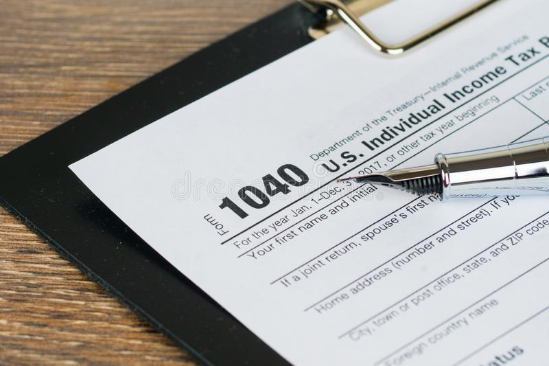 Individual income tax return form 1040, closeup shot stock photography