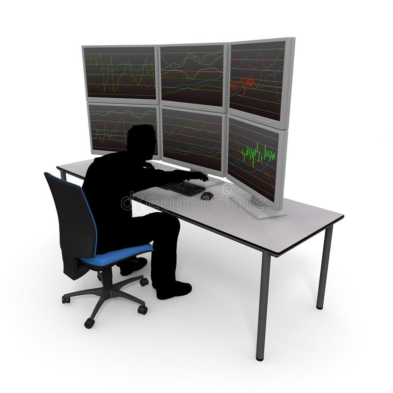 Individual Investor / Asset Management. Make stock investment on the Internet. Perform asset management with a personal computer at home. Look at the stock chart stock illustration