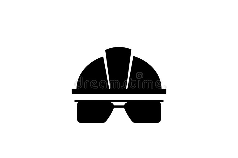 Individual protection means . Helmet, helmet, goggles. worker security icon. Vector stock photo