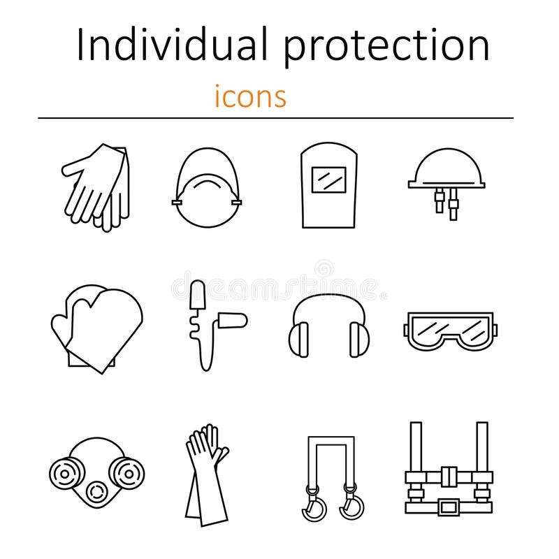 Individual Protection Set Of Icons Of Personal Protective