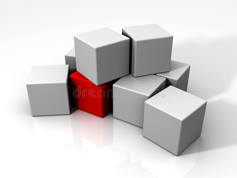 An individual red cube among many white cubes. 3D rendered image of an individual red cube among many white cubes stock illustration