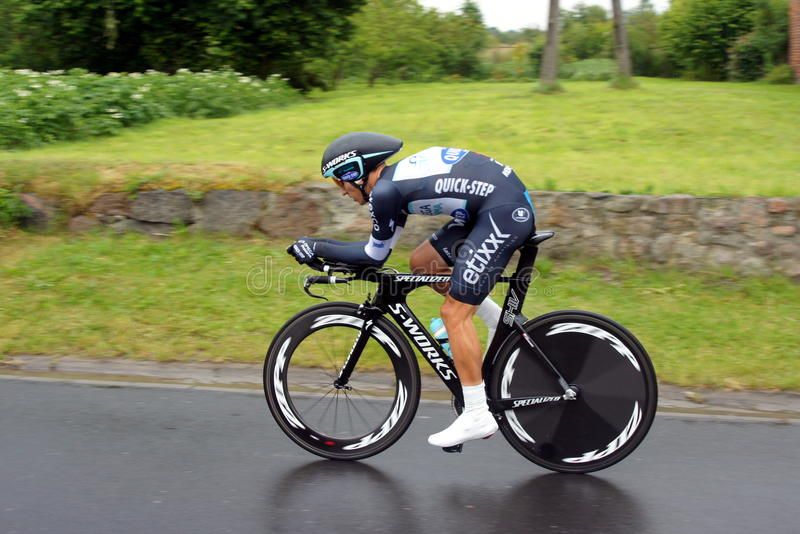 Individual time trial, Polish Championships in road cycling. ZAWONIA – 25 June 2014: - Individual time trial, Polish Championships in road cycling in 29 royalty free stock image