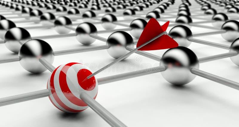 Individualidad en la red, conexiones stock de ilustración
